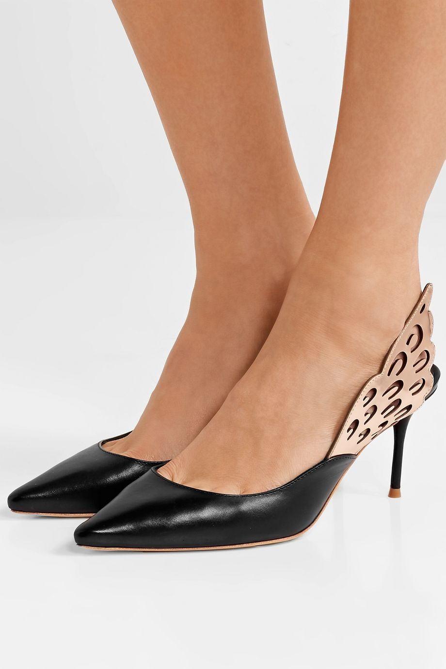 Sophia Webster Angelo metallic and smooth leather slingback pumps