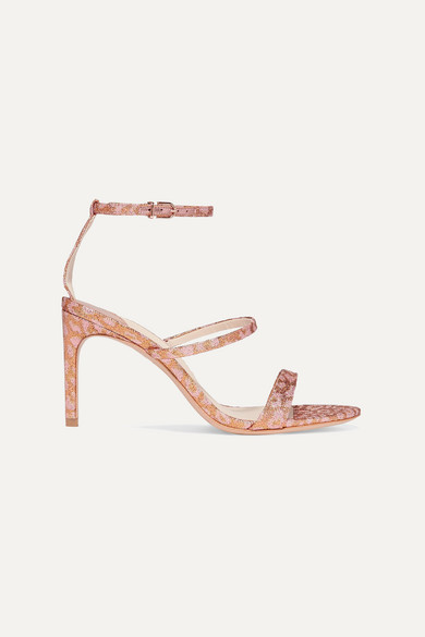 Sophia Webster Rosalind Leopard-print Glittered Lurex Sandals In Pink