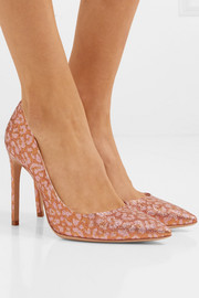 Rio leopard-print glittered Lurex pumps