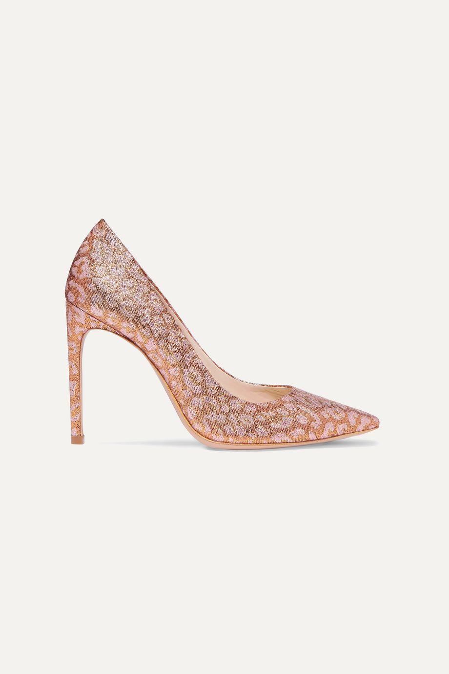 Sophia Webster Rio leopard-print glittered Lurex pumps