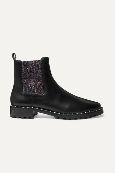 Sophia Webster Bessie Studded Leather And Glittered Stretch-Knit Chelsea Boots In Black