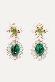 Dolce & Gabbana Lilium gold-tone, resin and crystal clip earrings