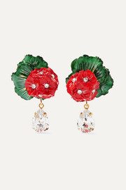 Dolce & Gabbana Portofino crystal, resin and gold-tone clip earrings