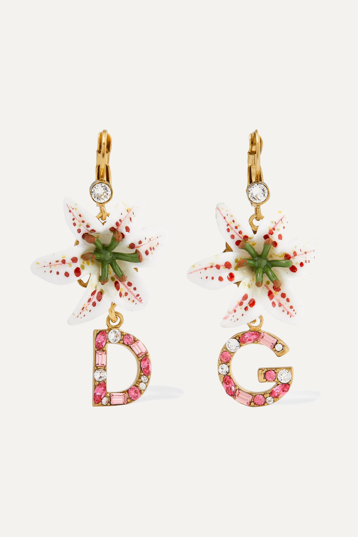 Dolce & Gabbana Lilium goldfarbene Ohrringe mit Harz und Kristallen