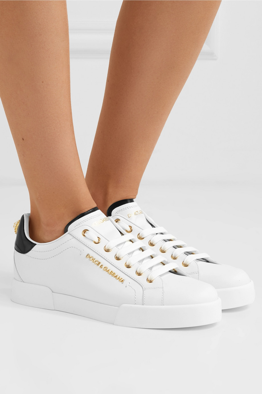 Dolce & Gabbana Logo-embellished leather sneakers