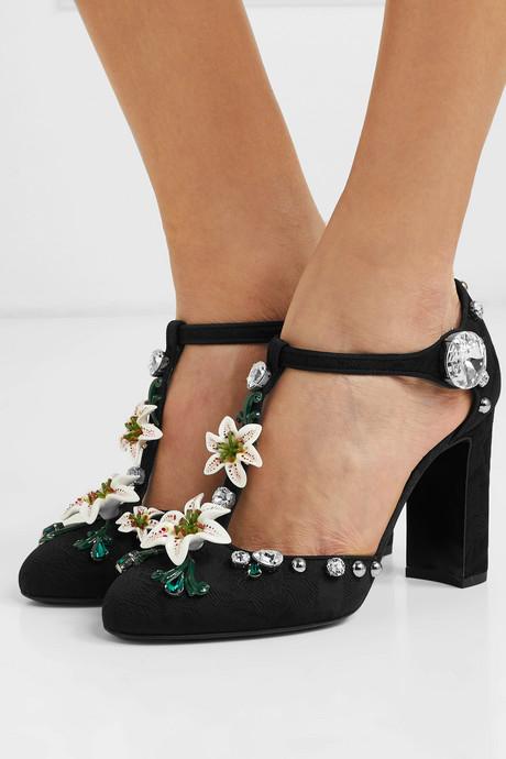 Embellished jacquard Mary Jane pumps
