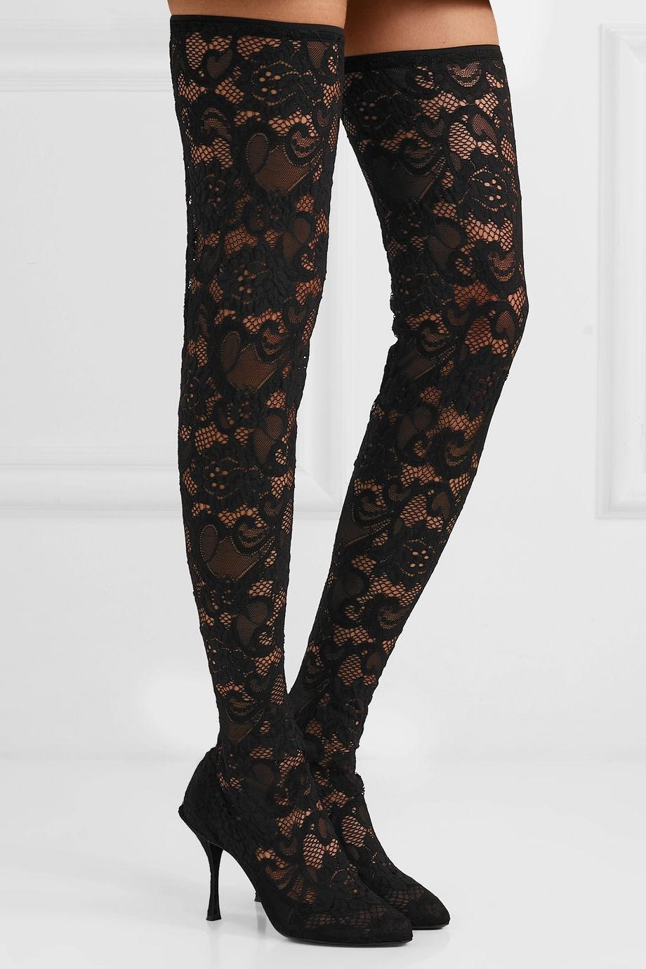 Dolce & Gabbana Stretch-lace and tulle over-the-knee sock boots