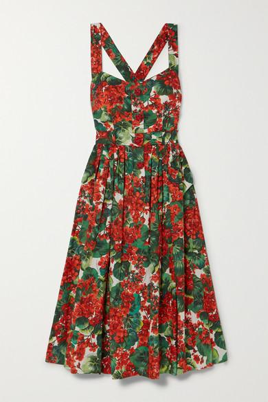 Dolce & Gabbana Pleated Floral-Print Cotton-Blend Poplin Midi Dress In Hav03 Bianco Naturale