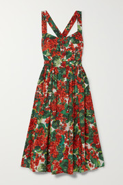 Dolce & Gabbana Pleated floral-print cotton-blend poplin midi dress