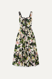 Dolce & Gabbana Lace-up floral-print cotton-poplin midi dress