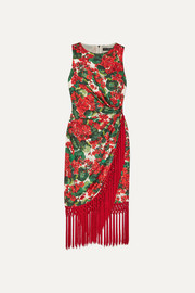 Dolce & Gabbana Tasseled floral-print silk-blend faille dress