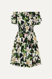 Dolce & Gabbana Off-the-shoulder ruffled floral-print cotton-poplin dress