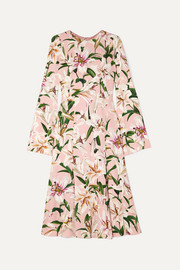 Dolce & Gabbana Pleated floral-print crepe de chine midi dress