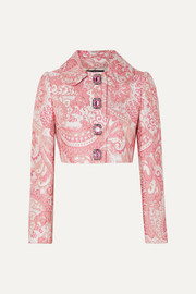 Dolce & Gabbana Cropped crystal-embellished metallic brocade jacket