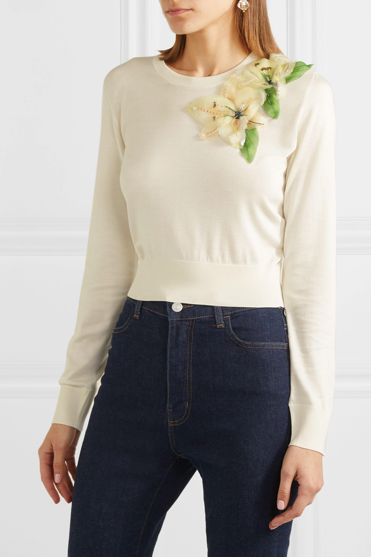 Dolce & Gabbana Embellished appliquéd silk sweater