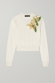 Embellished appliquéd silk sweater