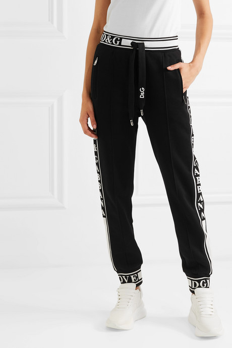 Jacquard-trimmed cotton-jersey track pants