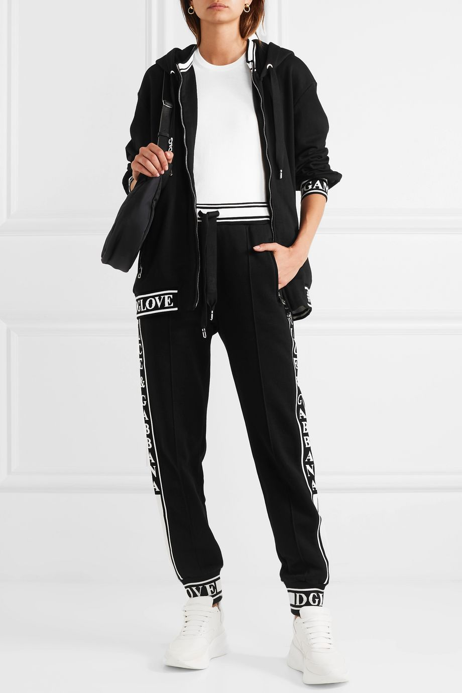 Dolce & Gabbana Jacquard-trimmed cotton-jersey track pants