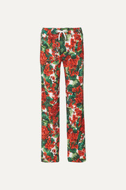 Dolce & Gabbana Intarsia-trimmed floral-print cady track pants