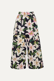 Dolce & Gabbana Cropped floral-print cotton wide-leg pants