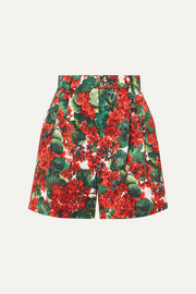Dolce & Gabbana Pleated floral-print cotton-blend poplin shorts