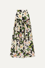 Tiered floral-print cotton-poplin maxi skirt