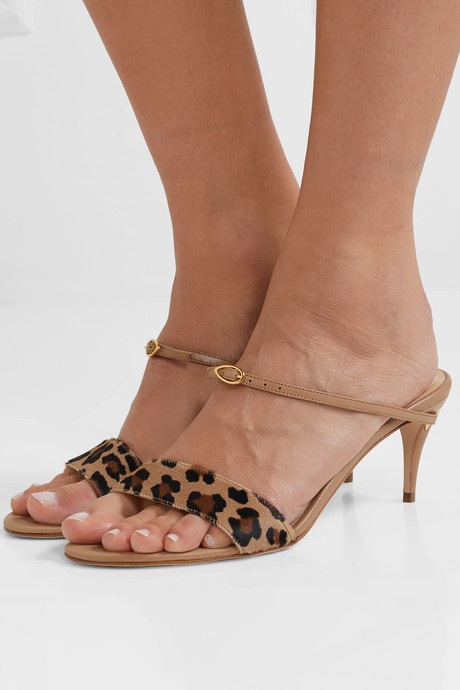 Andrea leopard-print calf hair and leather sandals