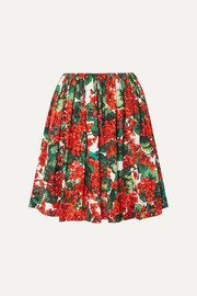 Dolce & Gabbana Pleated floral-print cotton skirt