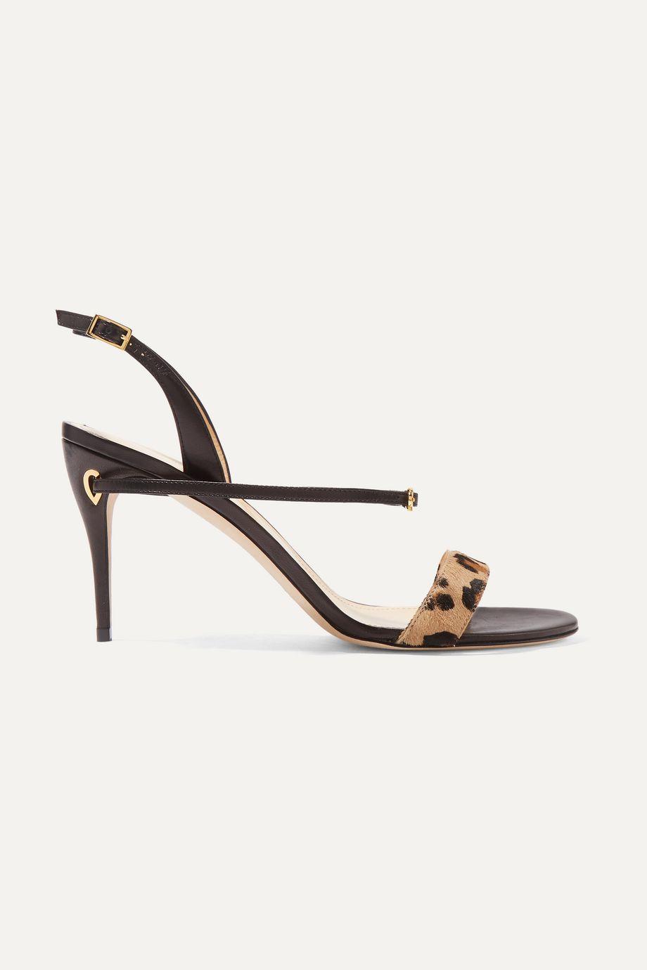 Jennifer Chamandi Tommaso leopard-print calf hair and leather slingback sandals