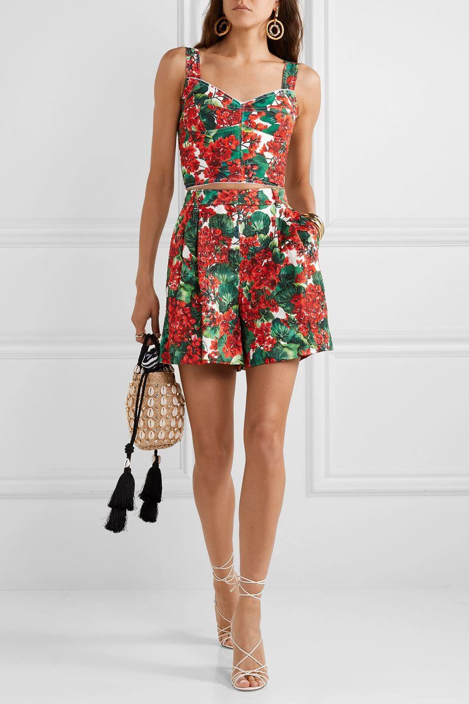 Dolce & Gabbana Floral-print cady bustier top