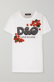 Dolce & Gabbana Flocked floral-print cotton-jersey T-shirt