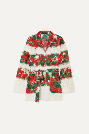 Dolce & Gabbana Belted floral-print cotton-blend twill and guipure lace shirt