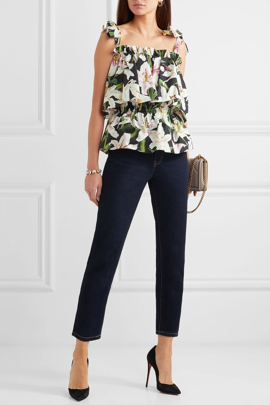 Dolce & Gabbana Floral-print cotton-poplin top
