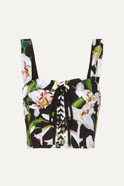 Dolce & Gabbana Cropped floral-print cotton-blend poplin and mesh bustier top