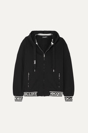 Dolce & Gabbana Jacquard-trimmed cotton-jersey hoodie