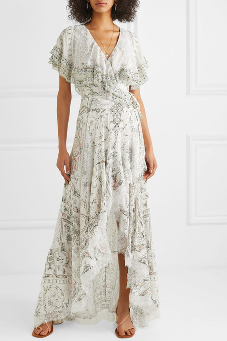 Asymmetric embellished printed silk wrap maxi dress