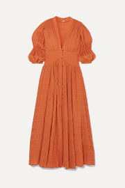 Willow shirred cotton-blend maxi dress