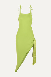 Cult Gaia Giselle asymmetric tasseled crepe midi dress