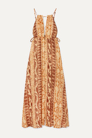 Agatha printed linen maxi dress
