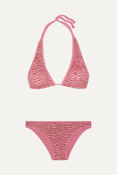 Missoni Pizzo Rilievo Crochet-knit Halterneck Bikini In Pink