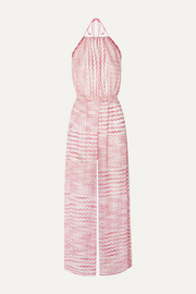 Missoni Open-back crochet halterneck jumpsuit