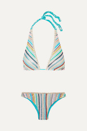 Missoni Mare metallic crochet-knit triangle bikini