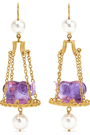 Renaissance Elephant 22-karat gold, amethyst and pearl earrings