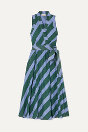 Tory Burch Striped cotton-poplin wrap dress
