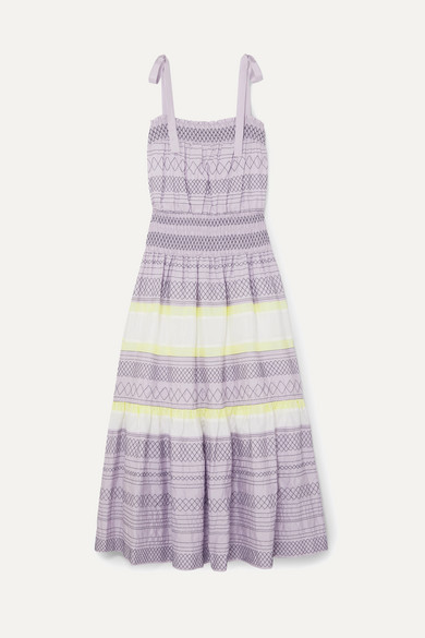 Tory Burch Dress Smocked embroidered striped silk dress