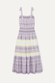 Tory Burch Smocked embroidered striped silk dress