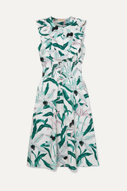 Tory Burch Ruffled smocked floral-print cotton midi dress