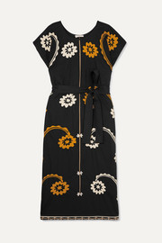 Tory Burch Belted embroidered cotton midi dress