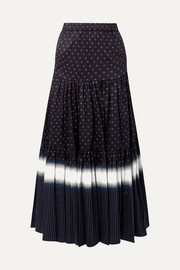 Tory Burch Tiered printed cotton-voile maxi skirt