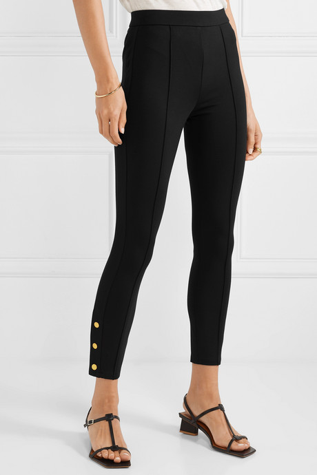 Button-embellished stretch-ponte leggings